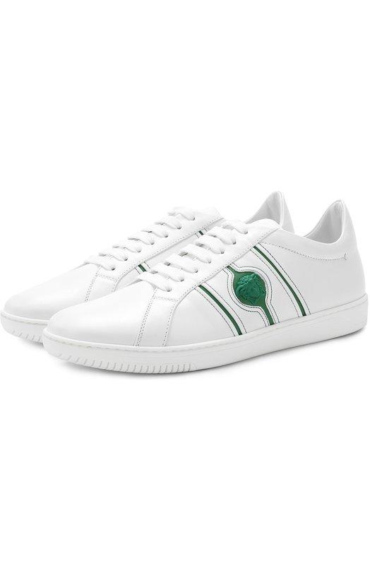 Купить Кожаные кеды на шнуровке Versace, DSU6450/D8VMG, Италия, Белый, Кожа натуральная: 100%; Стелька-кожа: 100%; Подошва-резина: 100%;