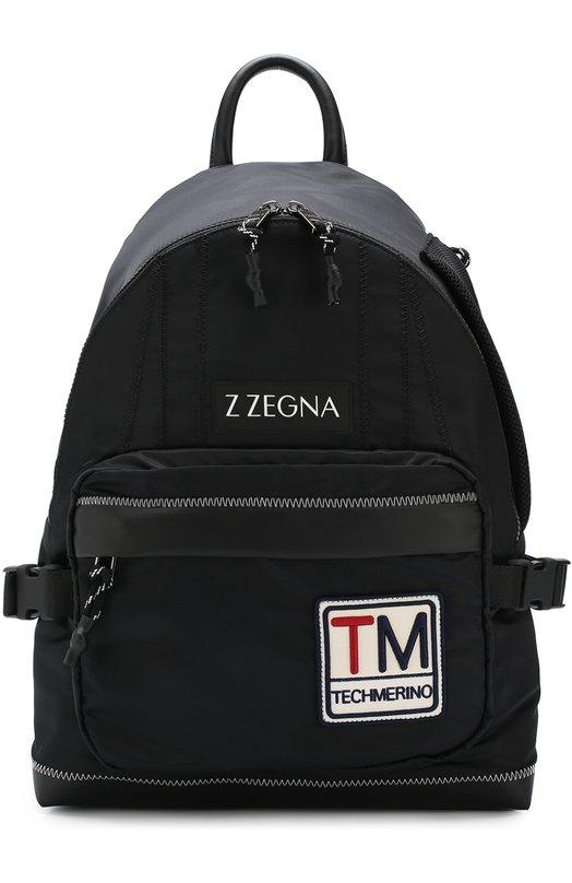 Купить Текстильный рюкзак с внешним карманом на молнии Z Zegna, C1353Z-SGT, Италия, Черный, Текстиль: 100%;