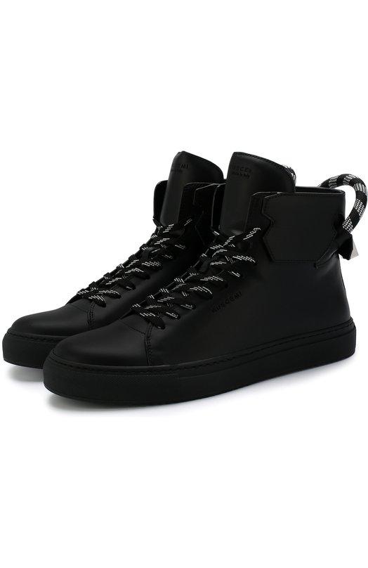 Купить Высокие кожаные кеды на шнуровке Buscemi, 118SM133KB990F, Италия, Черный, Кожа натуральная: 100%; Стелька-кожа: 100%; Подошва-резина: 100%;