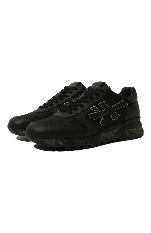 Купить Комбинированные кроссовки Mick на шнуровке Premiata, MICK/VAR2820, Вьетнам, Черный, Стелька-кожа: 100%; Подошва-резина: 100%; Кожа+текстиль: 100%;