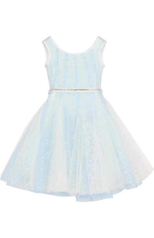 Купить Многослойное приталенное платье с пайетками и стразами на поясе Monnalisa, 771904, Италия, Голубой, Полиэстер: 100%; Подкладка-хлопок: 100%; Отделка-полиэстер: 88%; Отделка-эластан: 12%;