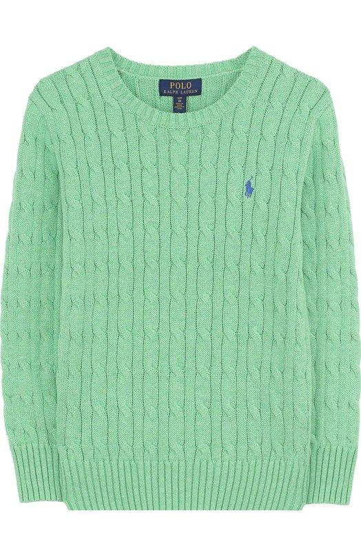 Купить Хлопковый пуловер фактурной вязки Polo Ralph Lauren, 322690744, Китай, Зеленый, Хлопок: 100%;