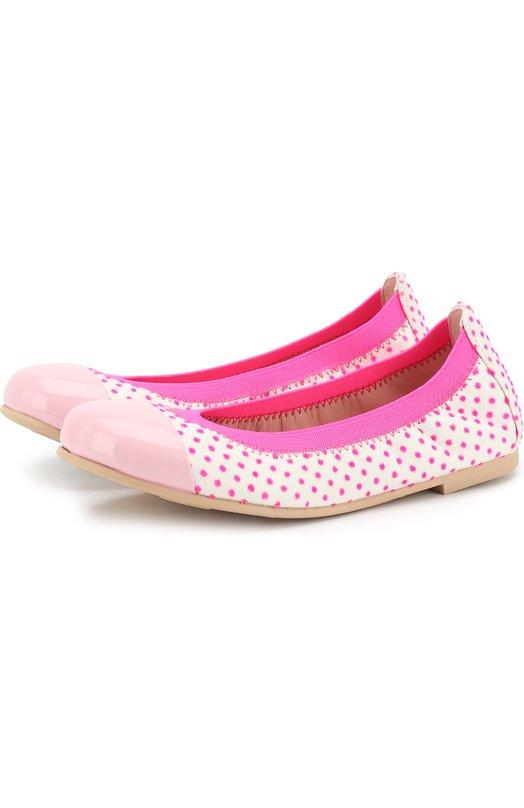 Купить Кожаные балетки в горох с лаковым мысом Pretty Ballerinas, 38.172/9.031/SHADE/NA0SHIMA, Испания, Розовый, Кожа натуральная: 100%; Стелька-кожа: 100%; Подошва-резина: 100%;