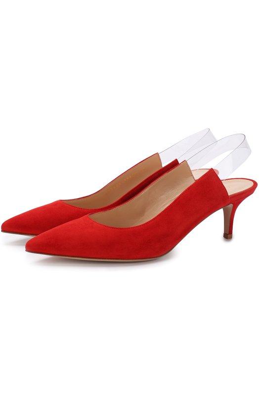 Купить Замшевые туфли Eva на каблуке kitten heel Gianvito Rossi, G92820.55RIC.CPLTATS, Италия, Красный, Стелька-кожа: 100%; Подошва-кожа: 100%; Замша натуральная: 100%;