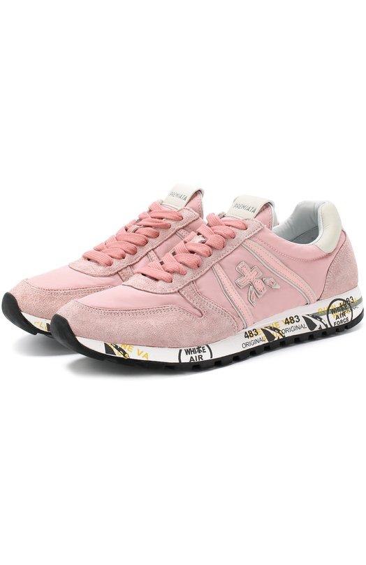 Купить Комбинированные кроссовки Sky-D на шнуровке Premiata, SKY-D/VAR3110, Вьетнам, Розовый, Текстиль: 70%; Замша натуральная: 30%; Стелька-кожа: 100%; Подошва-резина: 100%;
