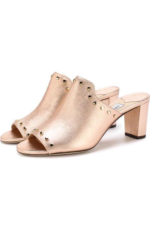 Купить Мюли Myla 65 из металлизированной кожи на устойчивом каблуке Jimmy Choo, MYLA 65/WID, Италия, Золотой, Кожа натуральная: 100%; Стелька-кожа: 100%; Подошва-кожа: 100%;