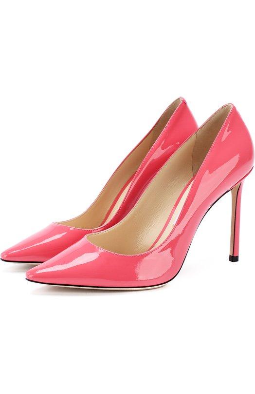 Купить Лаковые туфли Romy 100 на шпильке Jimmy Choo, R0MY 100/PAT, Италия, Розовый, Кожа натуральная: 100%; Стелька-кожа: 100%; Подошва-кожа: 100%; Подкладка-кожа: 100%; Кожа: 100%;