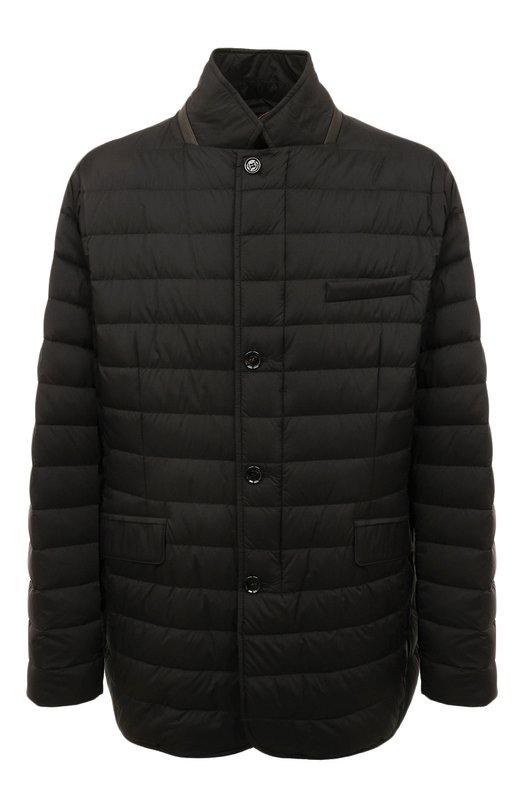 Купить Утепленная стеганая куртка на молнии с отложным воротником Moorer, ZAVYER-S3, Италия, Черный, Полиамид: 95%; Полиуретан: 5%; Подкладка-Полиамид: 100%;