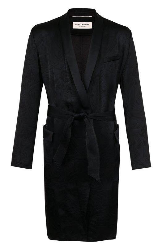 Пальто из вискозы в пижамном стиле с поясом и шалевым воротником Saint Laurent