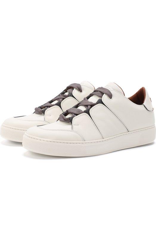 Купить Кожаные кеды на шнуровке Zegna Couture, A2975X-SWI, Италия, Белый, Кожа натуральная: 100%; Стелька-кожа: 100%; Подошва-резина: 100%;