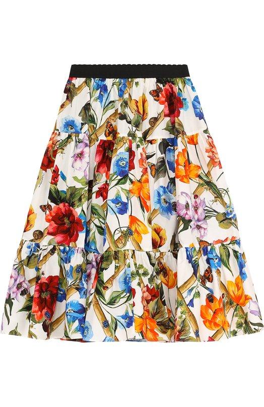 7fcf45f5278 Купить Хлопковая юбка свободного кроя с принтом и эластичным поясом Dolce    Gabbana