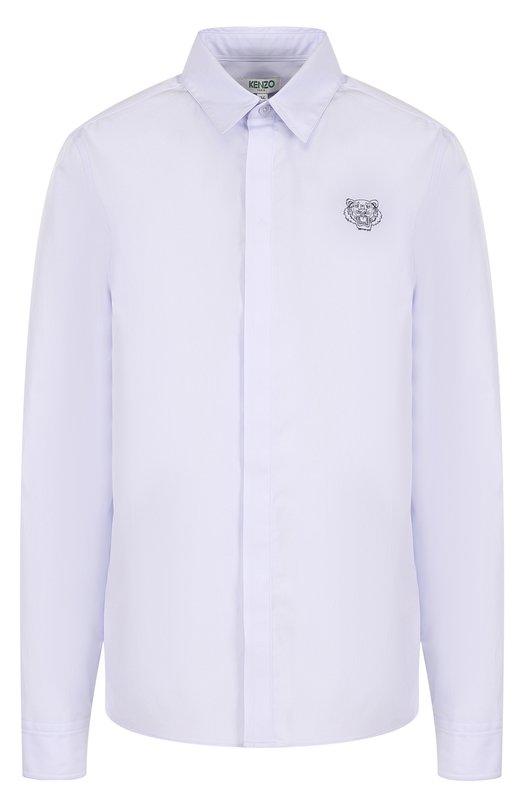 Купить Хлопковая блуза прямого кроя с логотипом бренда Kenzo, 2CH0805AP, Румыния, Голубой, Хлопок: 100%;