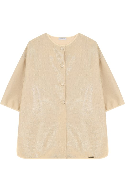 Купить Пальто прямого кроя с круглым вырезом и металлизированной отделкой I Pinco Pallino, 1801124003/07656/2-6, Польша, Золотой, Полиэстер: 100%;