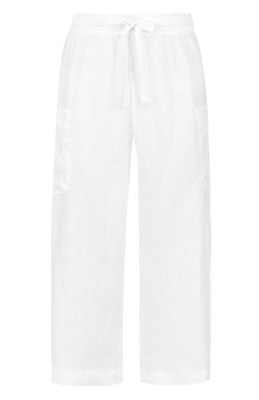 Купить Укороченные льняные брюки с эластичным поясом Deha, D73025, Тунис, Белый, Лен: 100%;