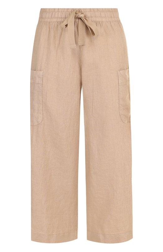 Купить Укороченные льняные брюки с эластичным поясом Deha, D73025, Тунис, Бежевый, Лен: 100%;