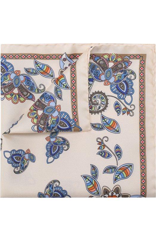 Купить Шелковый платок с принтом Eton, A000 30508, Италия, Бежевый, Шелк: 100%;