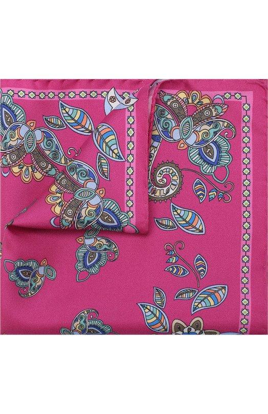 Купить Шелковый платок с принтом Eton, A000 30508, Италия, Розовый, Шелк: 100%;