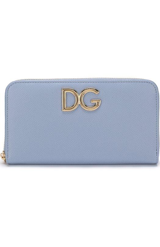 Купить Кожаный кошелек на молнии Dolce & Gabbana, BI0473/AH338, Италия, Голубой, Кожа натуральная: 100%;