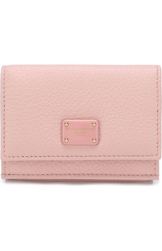 Купить Кожаное портмоне с клапаном и логотипом бренда Dolce & Gabbana, BI1048/AS244, Италия, Светло-розовый, Кожа натуральная: 100%;