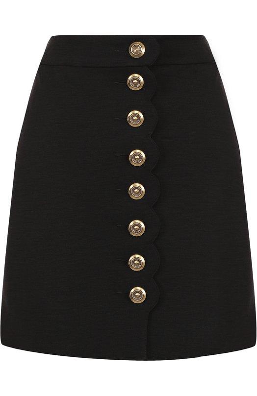 Купить Шерстяная мини-юбка с карманами Chloé, CHC18SJJ71082001, Португалия, Черный, Подкладка-ацетат: 75%; Подкладка-шелк: 25%; Шерсть: 100%;