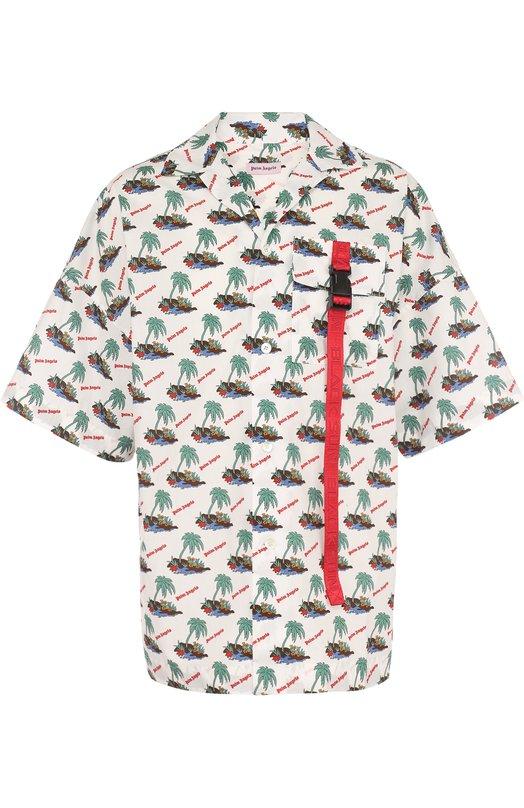 Купить Хлопковая рубашка свободного кроя с принтом Palm Angels, PMGA029S183560359900, Италия, Разноцветный, Хлопок: 100%;