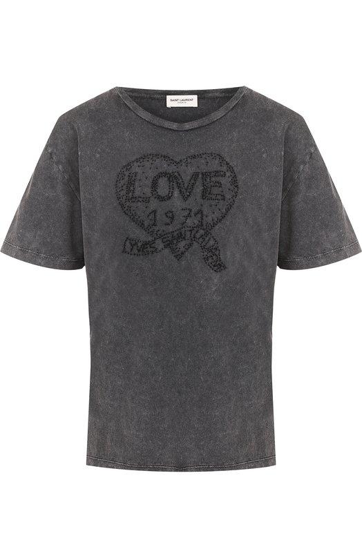 Купить Хлопковая футболка с потертостями и круглым вырезом Saint Laurent, 498816/YB2LC, Италия, Черный, Хлопок: 100%;