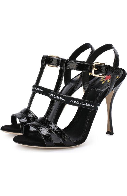 Купить Кожаные босоножки Keira на шпильке Dolce & Gabbana, CR0561/AN783, Италия, Черный, Кожа натуральная: 70%; Полиэстер: 30%; Стелька-кожа: 100%; Подошва-кожа: 100%;
