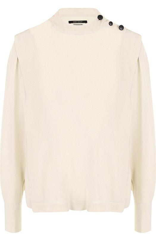 Купить Шелковая блуза свободного кроя с воротником-стойкой Isabel Marant, HT1157-18P021I/KELISSA, Болгария, Бежевый, Шелк: 100%;