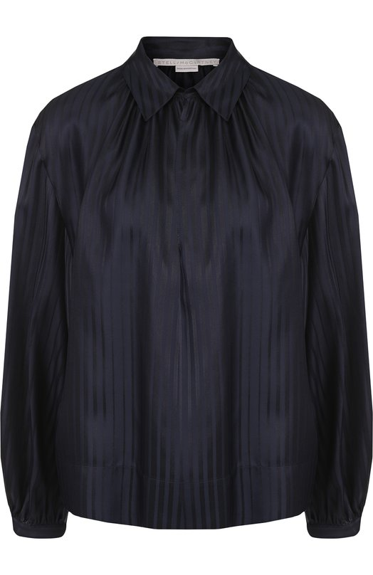 Купить Однотонная шелковая блуза свободного кроя Stella McCartney, 493884/SKA11, Венгрия, Темно-синий, Шелк: 100%;