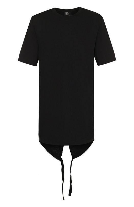 Купить Удлиненная хлопковая футболка Lost&Found, M22.748.100, Италия, Черный, Хлопок: 100%;