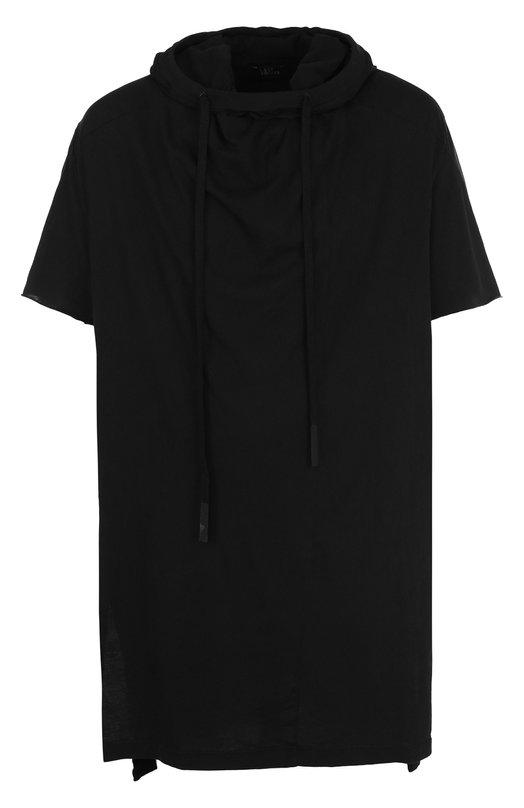 Купить Удлиненная хлопковая футболка с капюшоном Lost&Found, M22.748.193, Италия, Черный, Хлопок: 100%;
