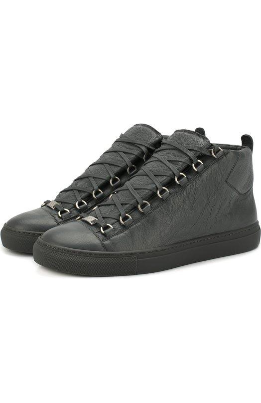Высокие кожаные кеды на шнуровке Balenciaga, 483497/WAY40, Испания, Серый, Кожа натуральная: 100%; Стелька-кожа: 100%; Подошва-резина: 100%;  - купить