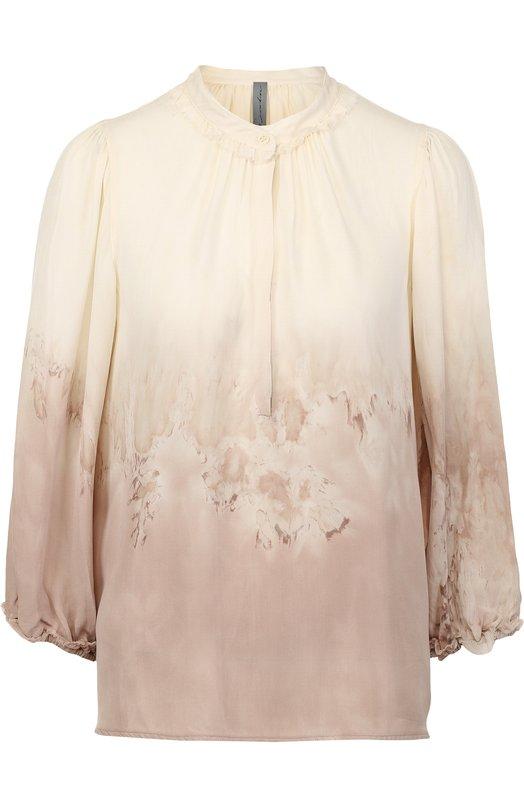 Шелковая блуза свободного кроя с принтом Raquel Allegra