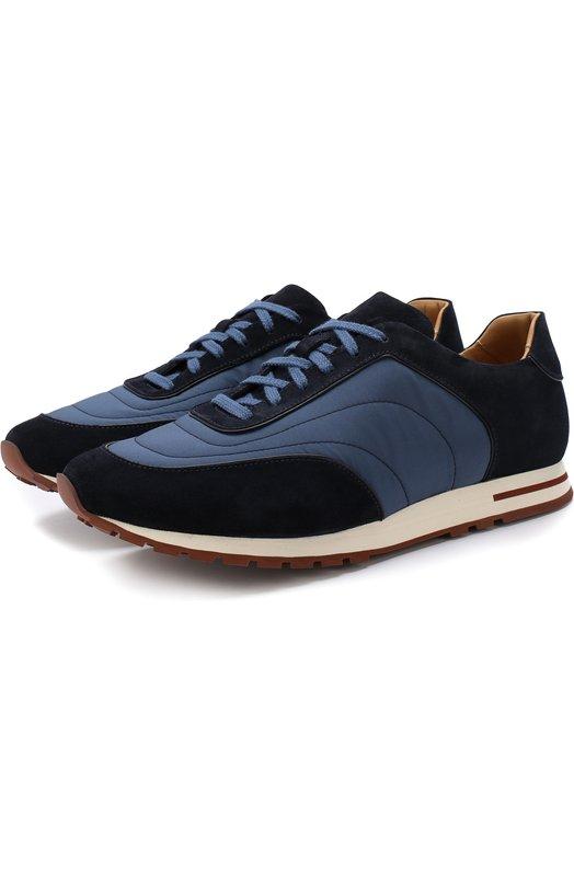 Купить Комбинированные кроссовки Week End Walk на шнуровке Loro Piana, FAG4288, Италия, Темно-синий, Текстиль: 55%; Замша натуральная: 45%; Стелька-кожа: 100%; Подошва-резина: 100%;