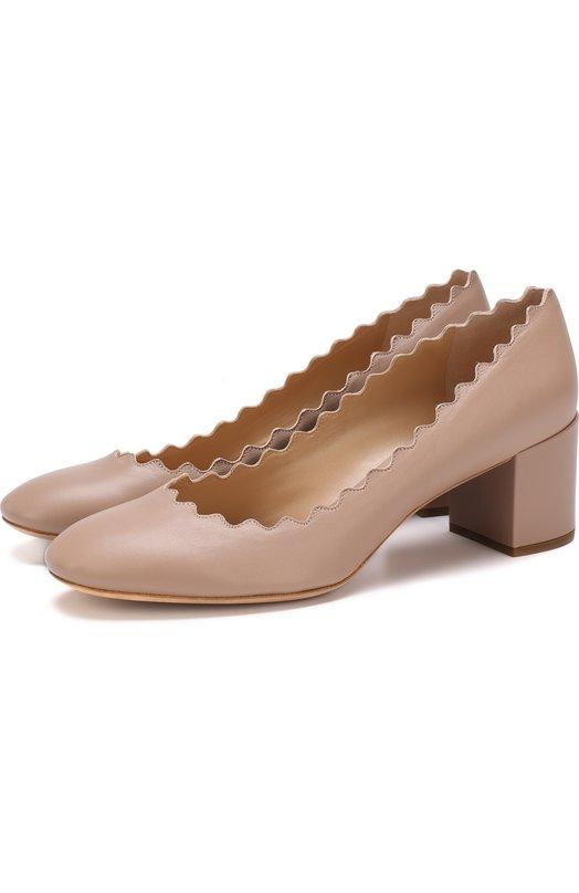 Купить Кожаные туфли Lauren с фигурным вырезом Chloé, CHC16A2307526C, Италия, Бежевый, Кожа натуральная: 100%; Стелька-кожа: 100%; Подошва-кожа: 100%;
