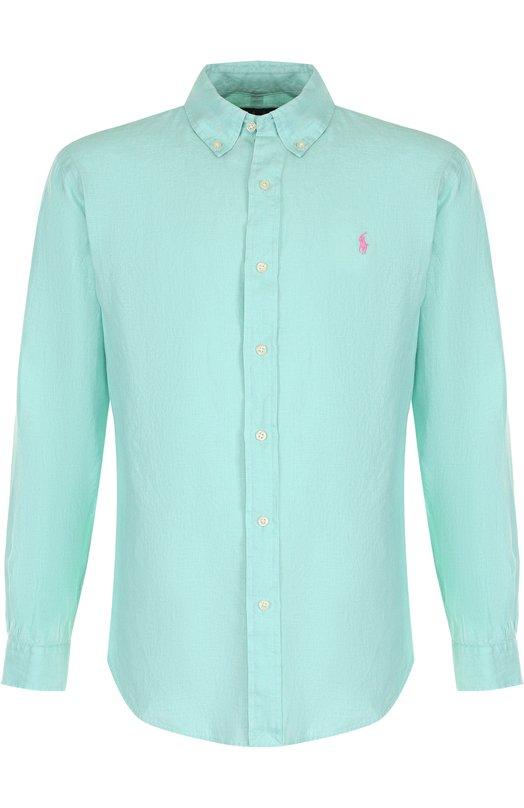 Купить Льняная рубашка с воротником button down Polo Ralph Lauren, 710688595, Индия, Салатовый, Лен: 100%;