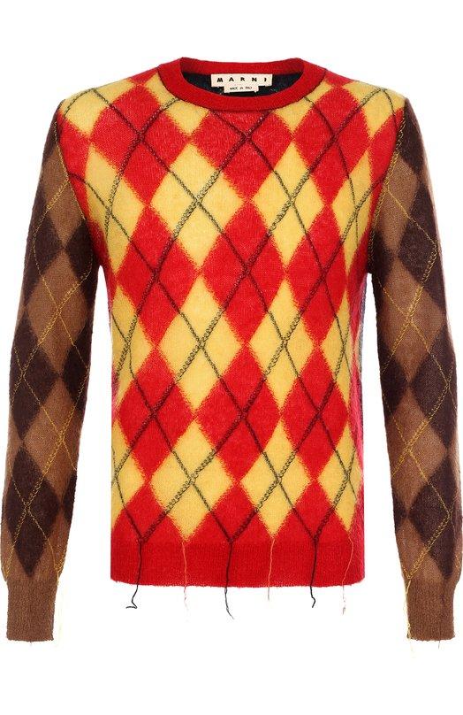 Купить Шерстяной свитер с вышивкой Marni, GCMGWHA146/16293, Италия, Разноцветный, Мохер: 67%; Шерсть: 5%; Полиамид: 28%;