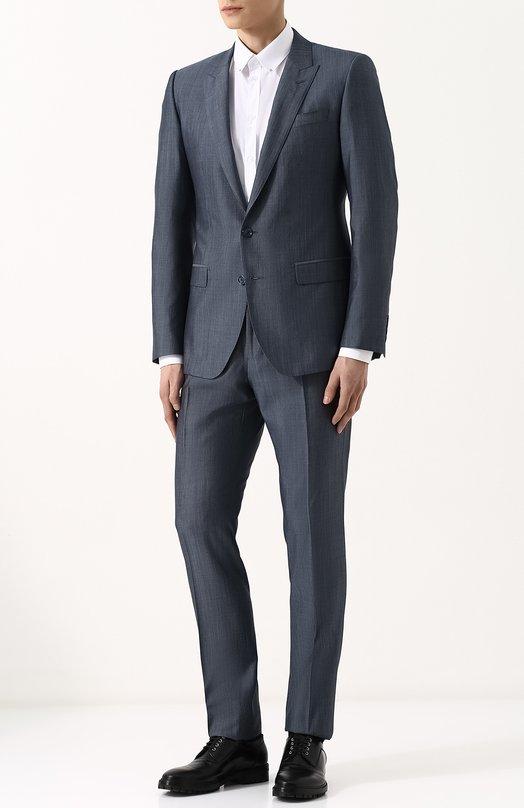 Купить Костюм из смеси шерсти и шелка с пиджаком на двух пуговицах Dolce & Gabbana, GK0RMT/FU3NX, Италия, Серый, Шерсть овечья: 80%; Шелк: 20%; Подкладка-вискоза: 100%;