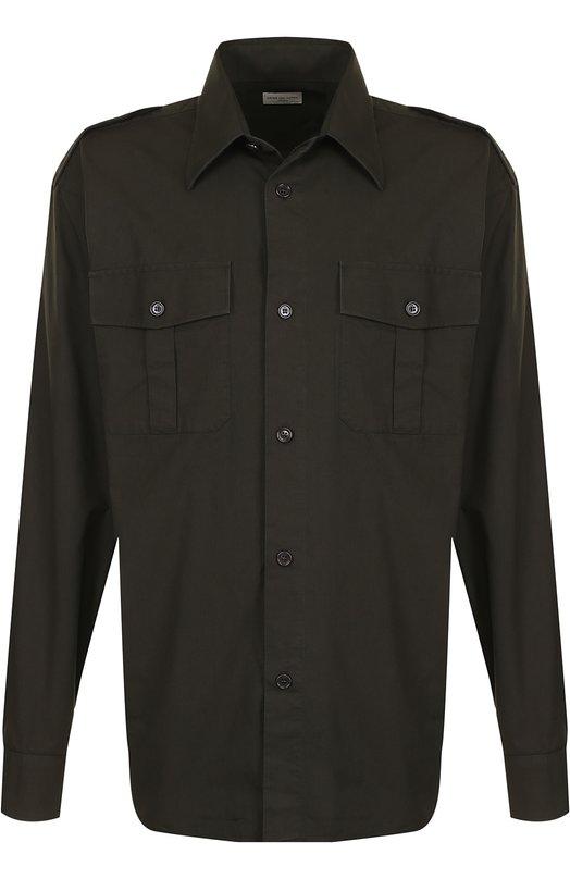 Купить Удлиненная хлопковая рубашка с накладными карманами Dries Van Noten, 181-20726-5202, Венгрия, Хаки, Хлопок: 100%;