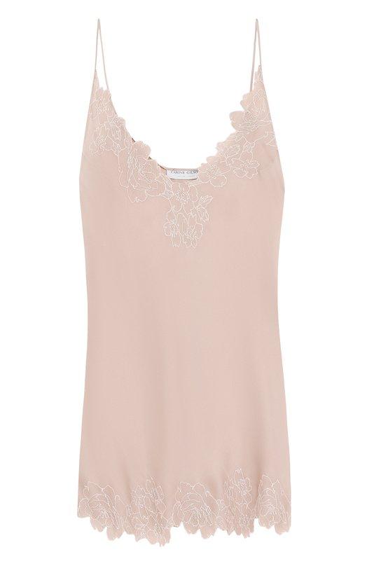 Купить Однотонная шелковая сорочка с V-образным вырезом Carine Gilson, RC0418AP C18, Бельгия, Бежевый, Шелк: 100%;