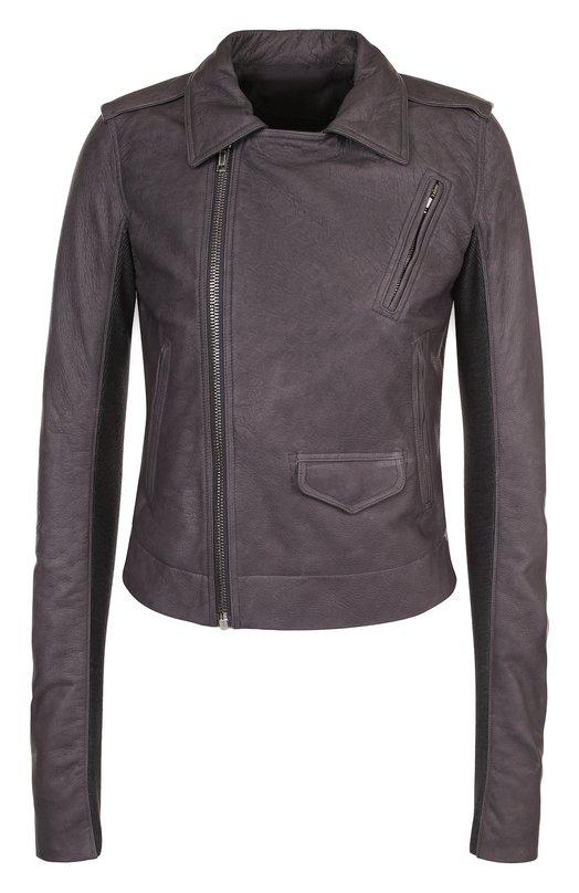 Купить Приталенная кожаная куртка с косой молнией Rick Owens, RP18S8703/LCW, Италия, Серый, Подкладка-хлопок: 72%; Подкладка-шелк: 28%; Кожа натуральная: 100%; Отделка-шерсть овечья: 100%;