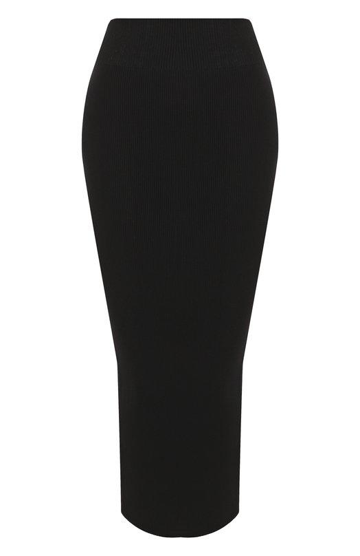 Купить Однотонная вязаная юбка-карандаш Rick Owens, RP18S8677/KS, Италия, Черный, Вискоза: 53%; Полиэстер: 47%;