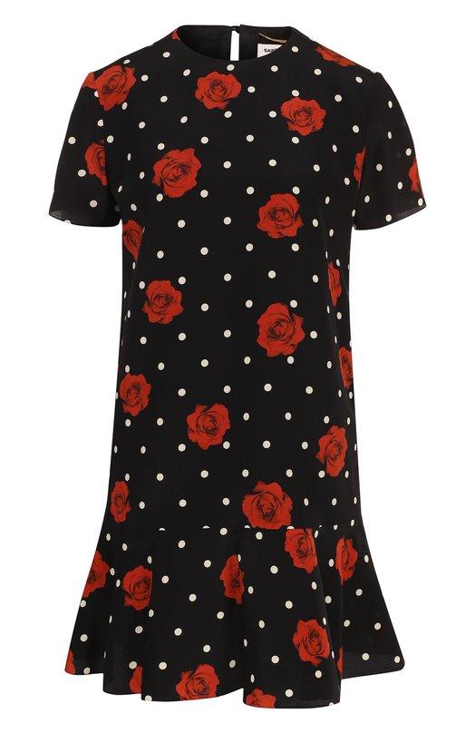 Купить Шелковое мини-платье с принтом и оборкой Saint Laurent, 484797/Y383S, Франция, Черный, Шелк: 100%;