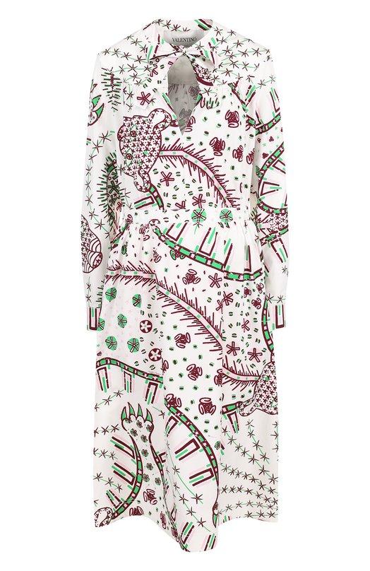 Купить Приталенное хлопковое платье с принтом Valentino, PB3VAH46/3QA, Италия, Зеленый, Хлопок: 100%;