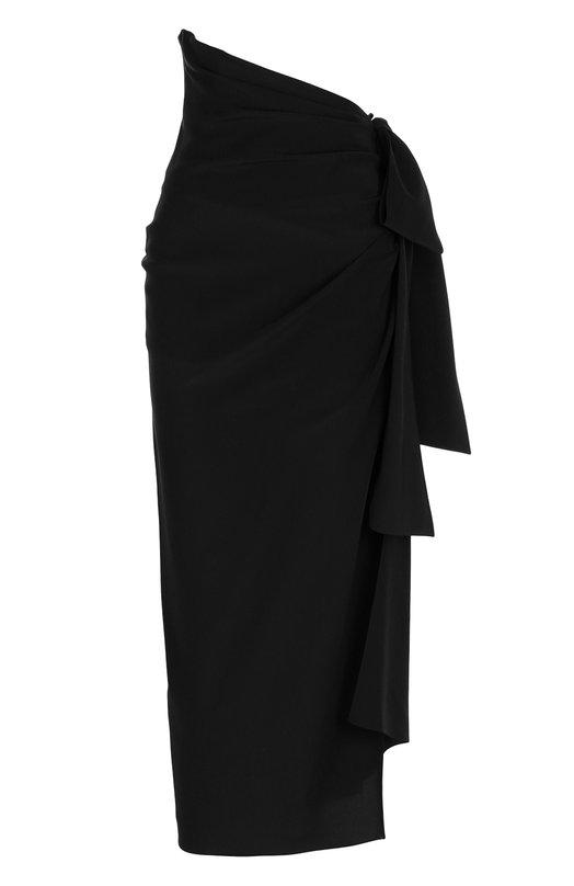 Купить Однотонная шелковая юбка с высоким разрезом Saint Laurent, 497522/Y100W, Франция, Черный, Шелк: 100%;