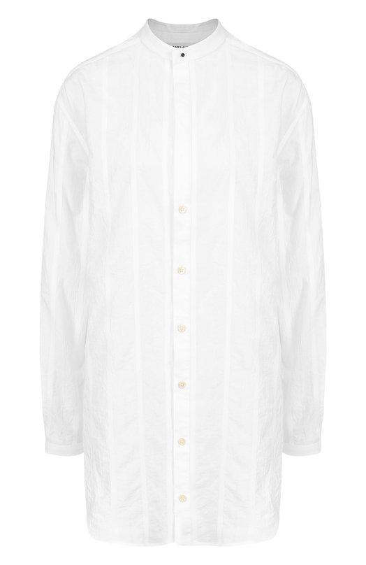 Купить Удлиненная хлопковая блуза свободного кроя Saint Laurent, 508826/Y004S, Италия, Белый, Хлопок: 100%;