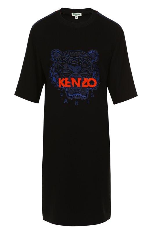 Купить Платье-футболка с логотипом бренда Kenzo, 2R00405AC, Мадагаскар, Черный, Триацетат: 82%; Полиэстер: 18%;