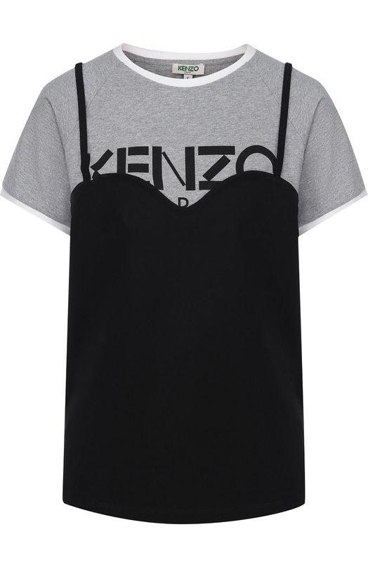 Купить Хлопковая футболка с логотипом бренда Kenzo, 2T0777987, Португалия, Черный, Хлопок: 100%;