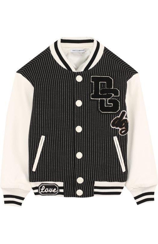 Купить Текстильная куртка-бомбер с кожаной отделкой и аппликациями Dolce & Gabbana, L4JBT2/G7MNE/8-14, Италия, Черно-белый, Хлопок: 70%; Кашемир: 5%; Отделка-вискоза: 5%; Отделка-полиамид: 5%; Отделка-шерсть: 30%; Отделка-акрил: 30%; Кожа натуральная: 25%; Отделка