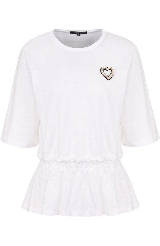 Купить Приталенная хлопковая футболка с круглым вырезом Markus Lupfer, TP1284, Португалия, Белый, Хлопок: 100%;